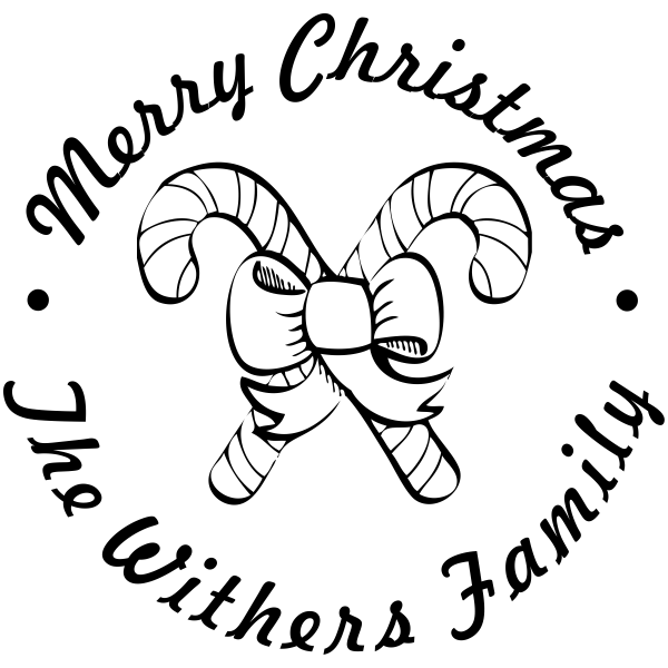 Merry Christmas Twin Candy Cane Custom Rubber Stamp