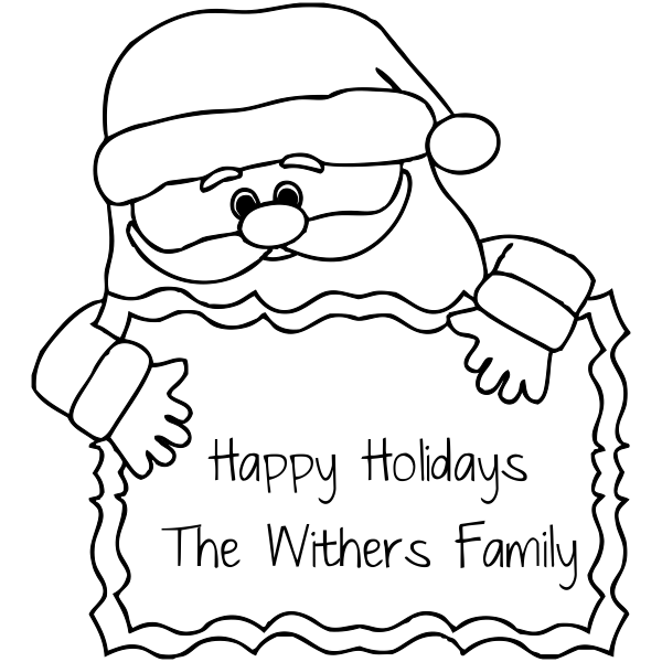 Santa Happy Holidays Custom Rubber Stamp