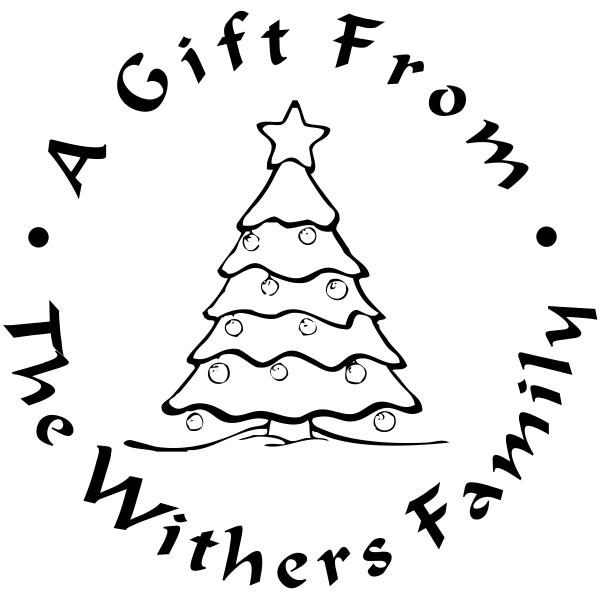 Custom Christmas Tree Gift Label Rubber Stamp