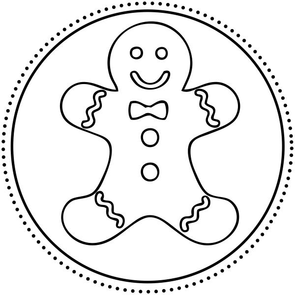 Gingerbread Man Round Stamp