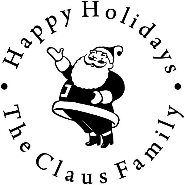 Happy Holidays Waving Santa Rubber Stamp