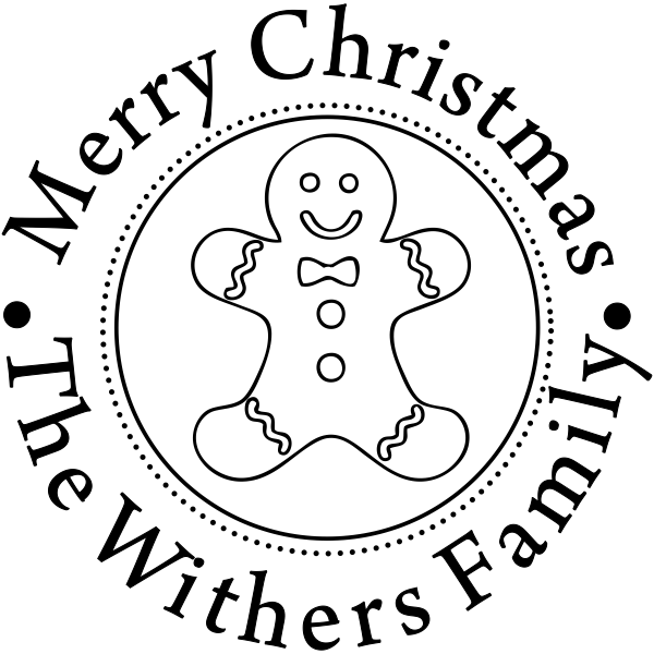 Merry Christmas Gingerbread Man Rubber Stamp