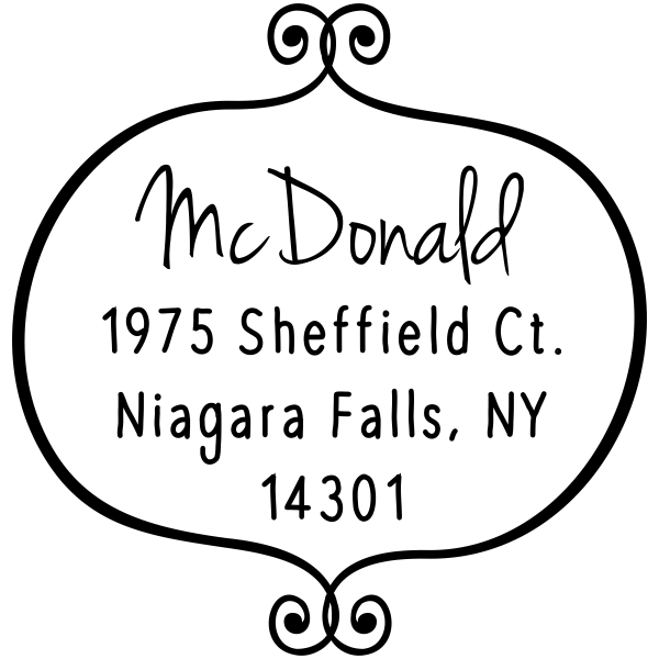 McDonald Curly Q Return Address Stamp