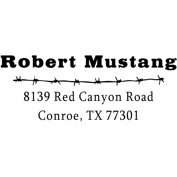 Mustang Barbed Wire Address Stamp