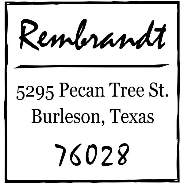 Scrawled Square Return Address Stamp