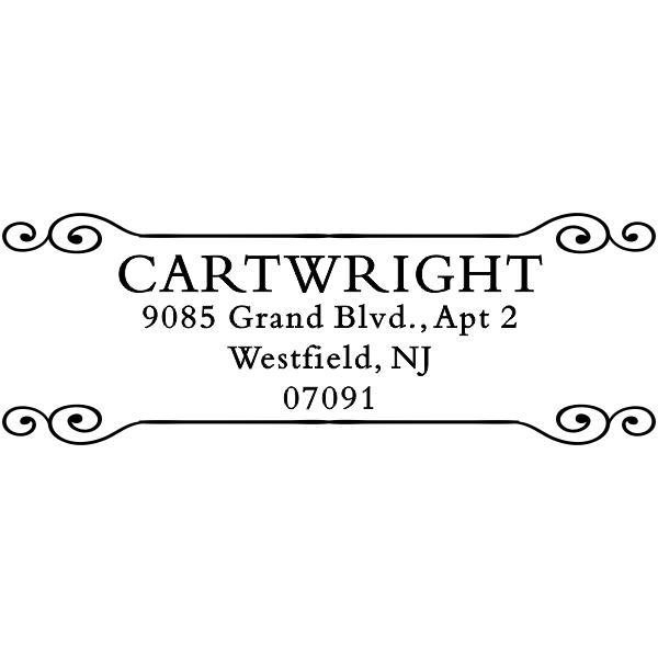 Cartwright Curled Deco Return Address Stamp