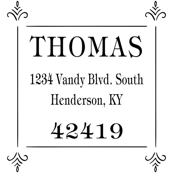 Thomas Four Square Deco Address Stamp