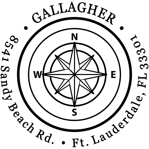 Gallagher Compass Double Border Return Address Stamp
