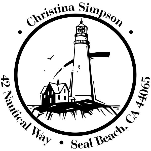 Lighthouse on Shore Round Address Stamp