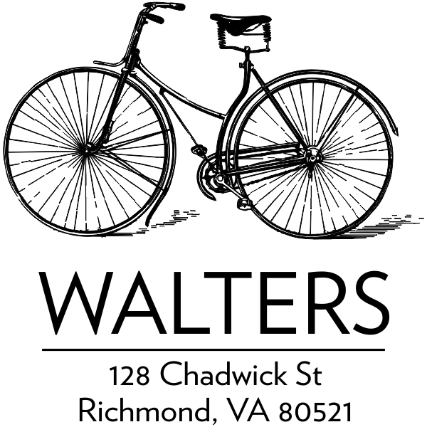 Retro Vintage Bicycle Return Address Stamp
