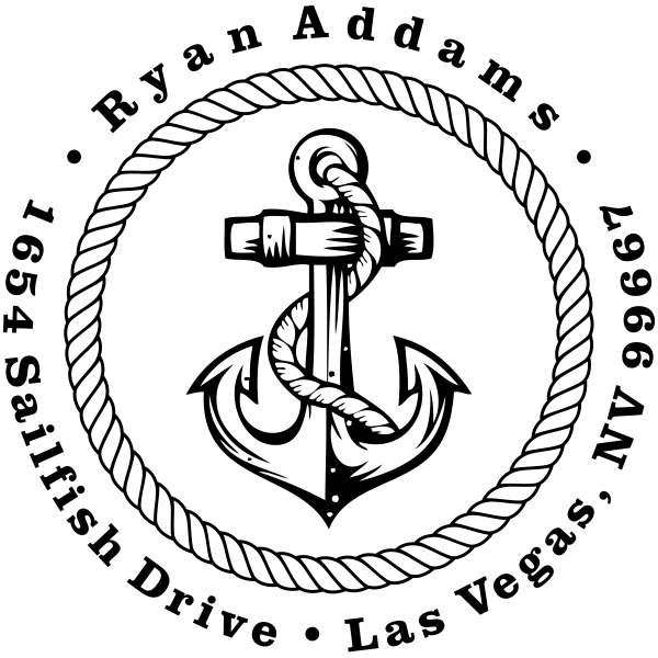 Nautical Rope and Anchor Custom Address Stamp