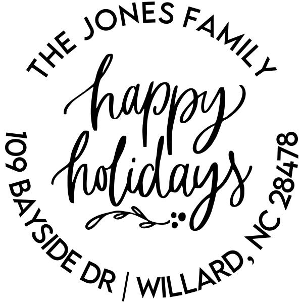 Happy Holidays Calligraphy Custom Holiday Address Stamp