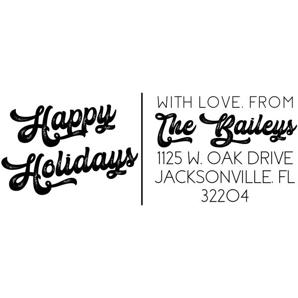 Vintage Inspired Happy Holidays Custom Address Stamp