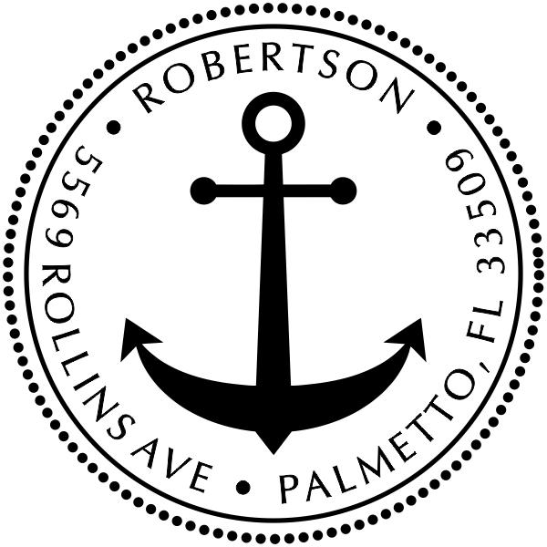 Nautical Anchor Round Address Stamp