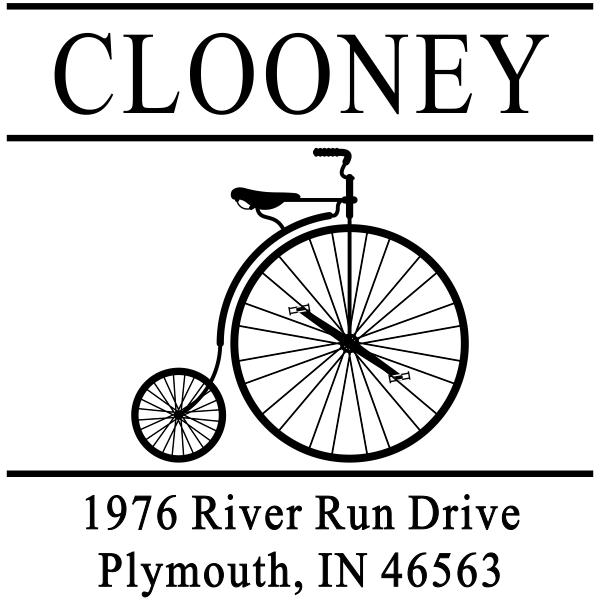 Clooney Vintage Bicycle Address Stamp