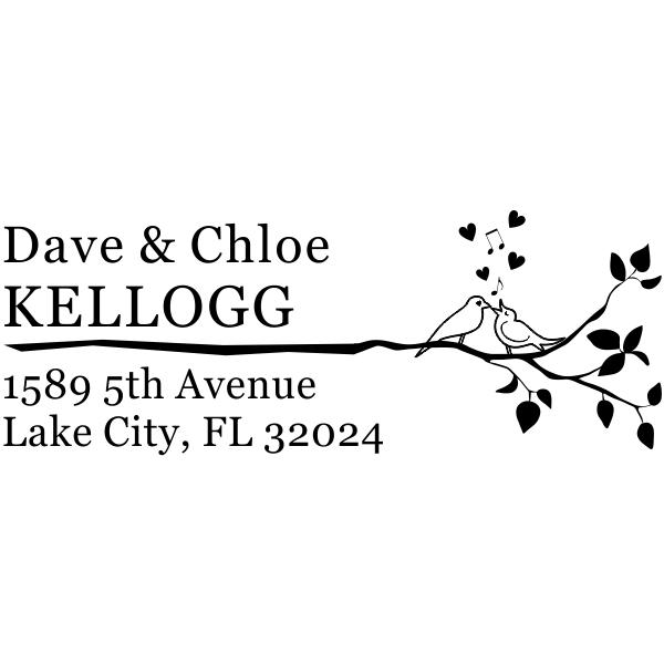 Singing Love Birds Branch Address Stamp