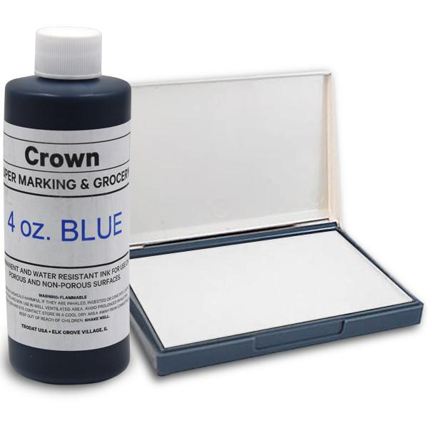 Blue 4oz SuperMarking Ink w/ Small Pad