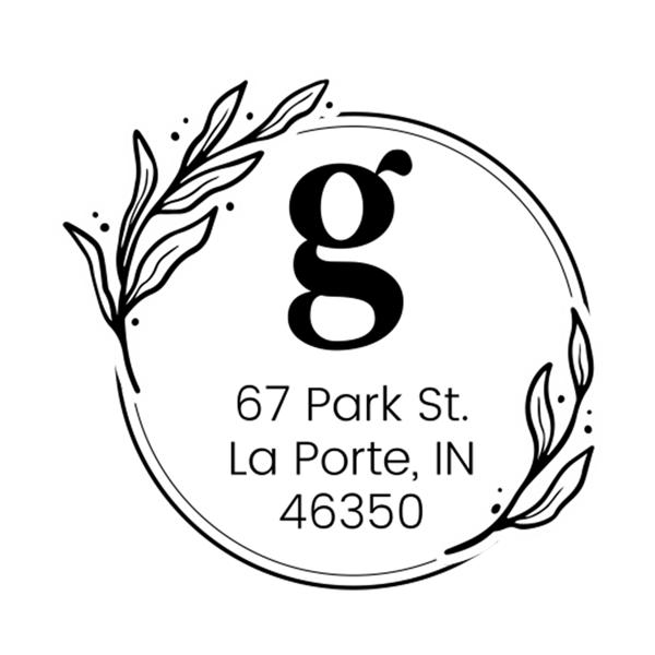 Elegant Botanical Monogram Address Stamp