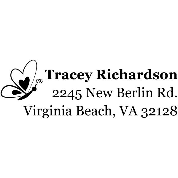 Heart Butterfly Left Return Address Stamp
