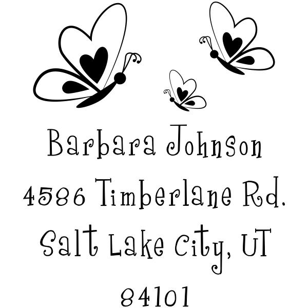 Butterfly Family Return Address Stamp