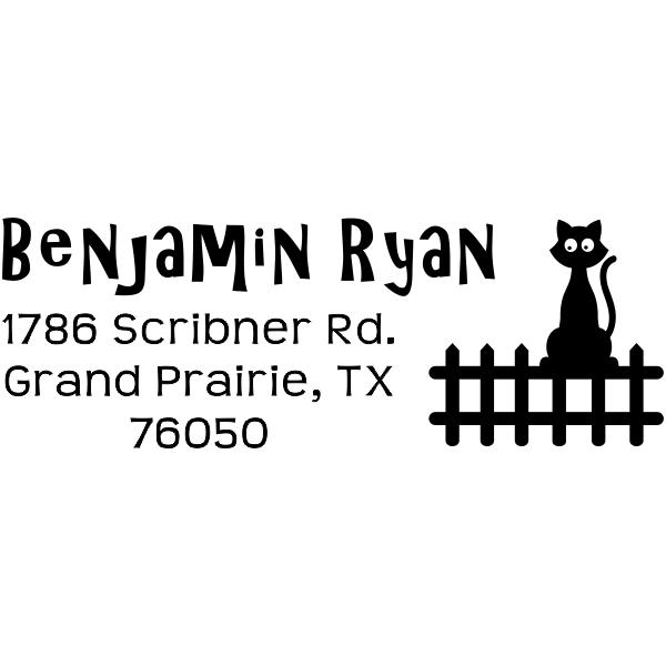Cat on a Fence Address Stamp