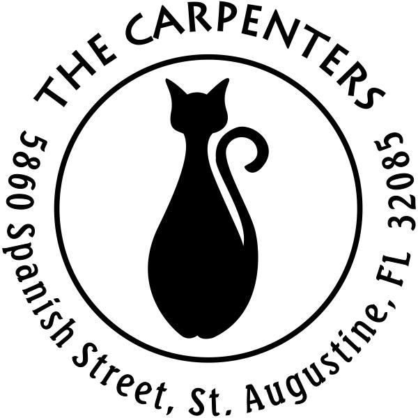 Bottle Shape Cat Round Address Stamp