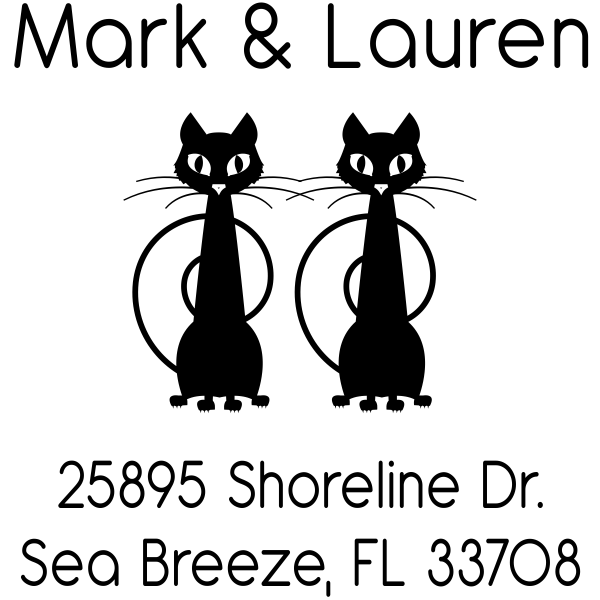 Mischevious Duo Cats Address Stamp