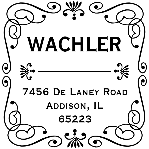 Square rubber address stamp