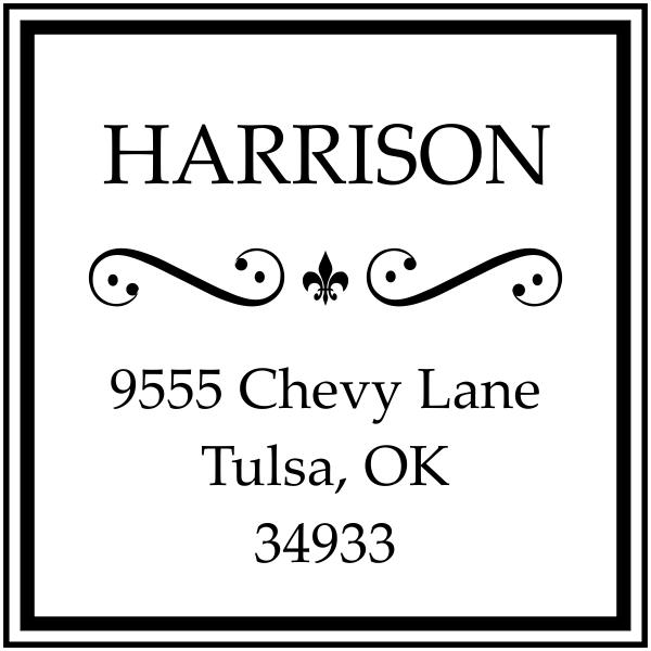 Square address rubber stamp