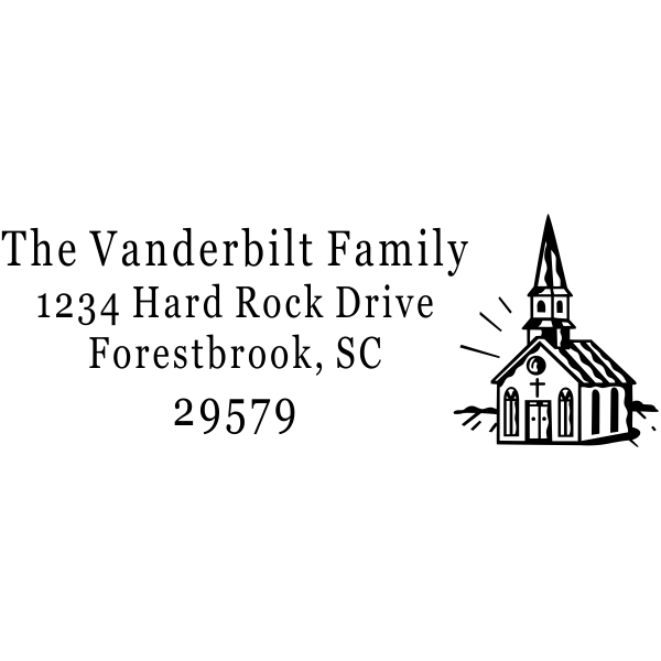 Church Building Rectangle Address Stamp