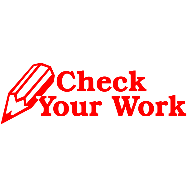 Feedback - Check Your Work Pencil Rubber Teacher Stamp