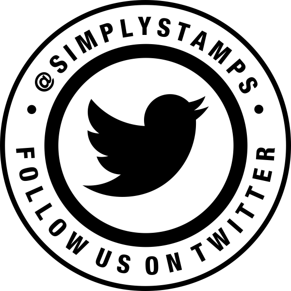 Follow Us On Twitter Handle Round Stamp