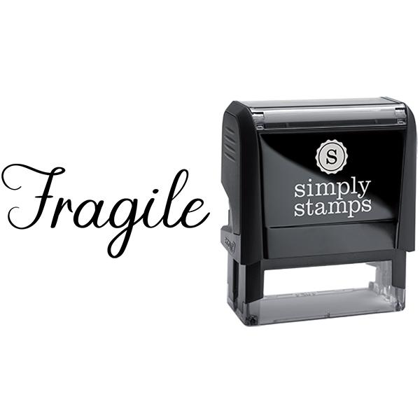 Fragile in Elegant Script Lettering Business Stamp