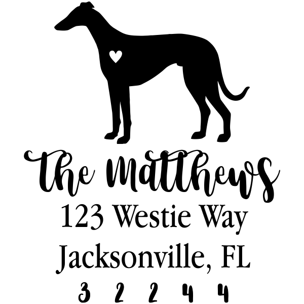 Greyhound Love Address Stamp