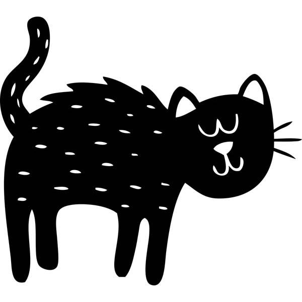 "Cute Black Cat Halloween Craft Stamp | 2"" x 2"""