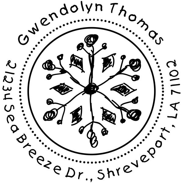 Thomas Hand Drawn Snowflake Return Address Stamp