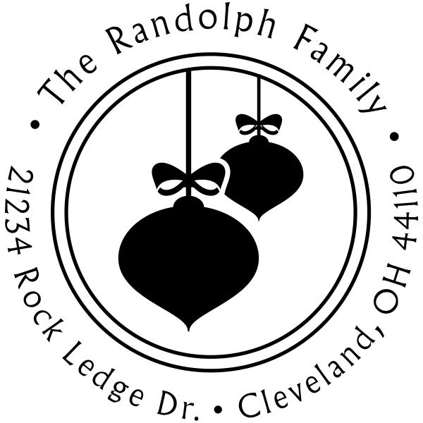 Randolph Christmas Ornaments Return Address Stamp