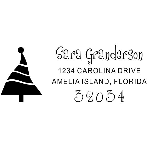Dancing Christmas Tree Address Stamp