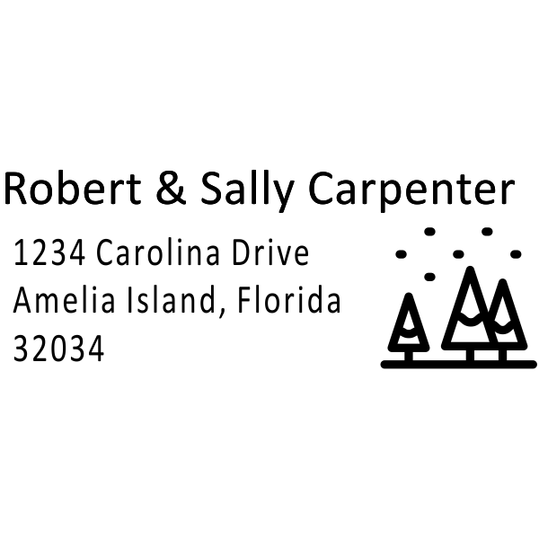 Winter Christmas Tree Address Stamp