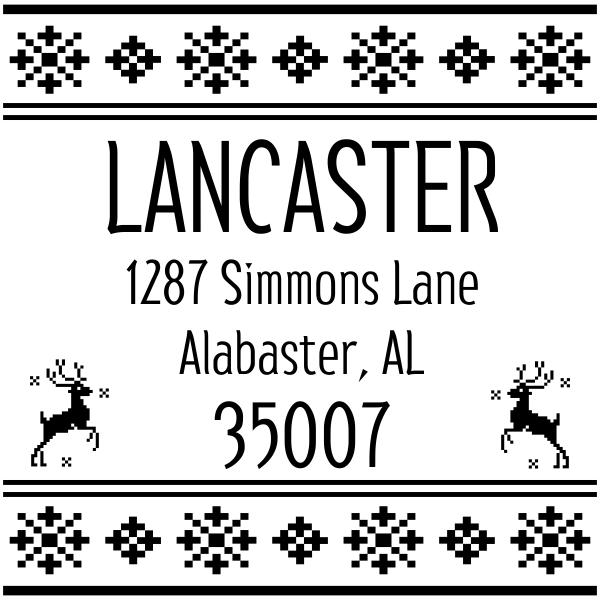 Designer Reindeer Return Address Stamp