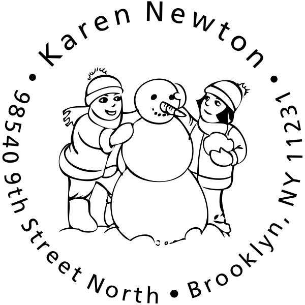 Girls building Snowman Return Address Stamp