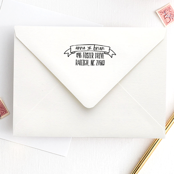 Hand Lettered His and Hers Address Stamp