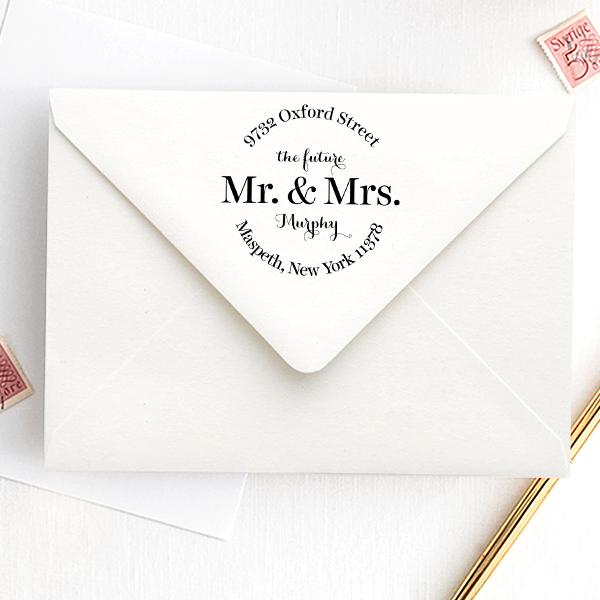 Future Mr. and Mrs. Bold Round Address Stamp