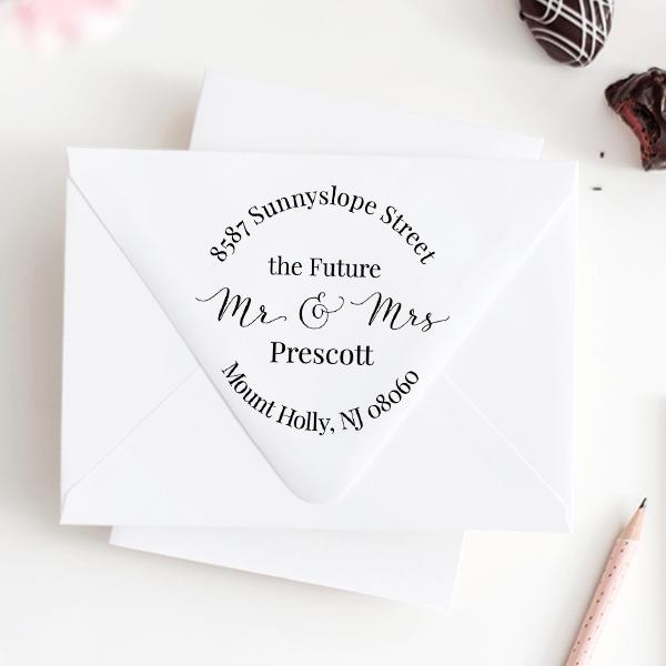 Future Mr. and Mrs. Round Address Stamp