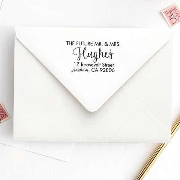 Future Mr. and Mrs. Modern Address Stamp