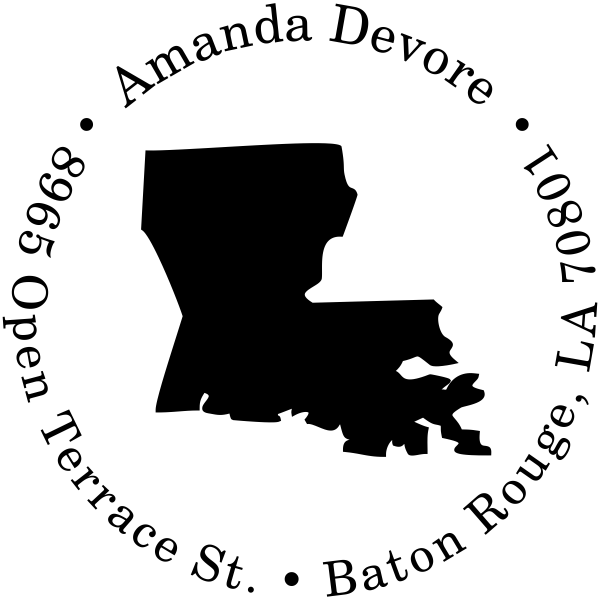 Louisiana Round Address Stamp