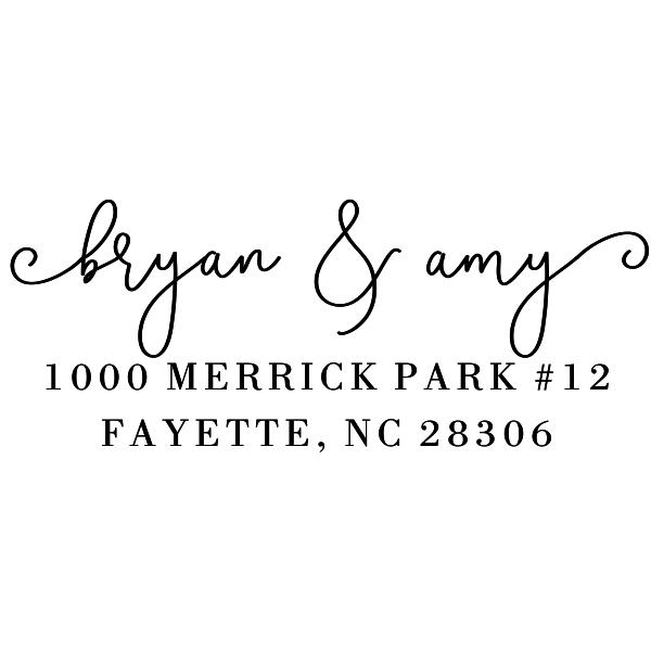 Merrick Park Script Address Stamp