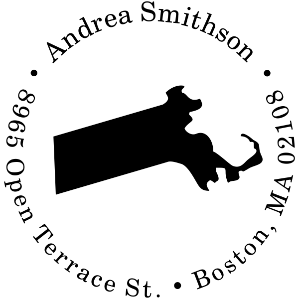 Massachusetts Round Address Stamp