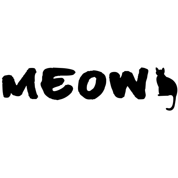 MEOW Cat Rubber Stamp