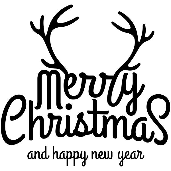 Merry Christmas Deer Antler Craft Stamp